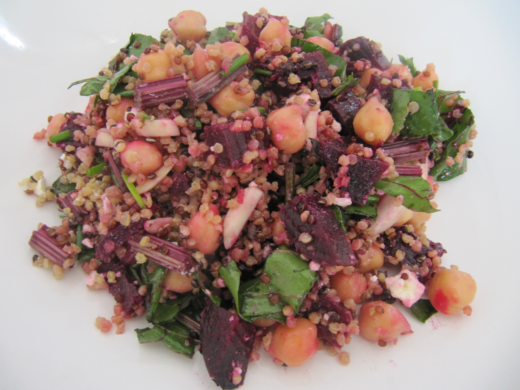 Blushing Quinoa, Roasted Beet and Feta Salad with Chick Peas and Honey ...