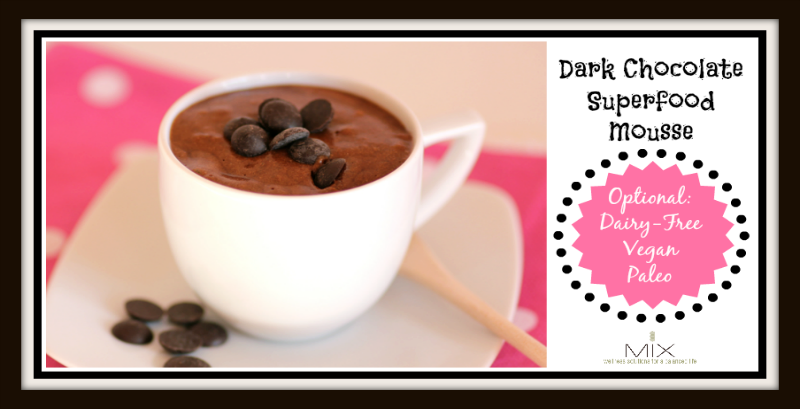 Dark Chocolate Superfood Mousse {Dairy-Free, Paleo & Vegan Option} | www.mixwellness.com