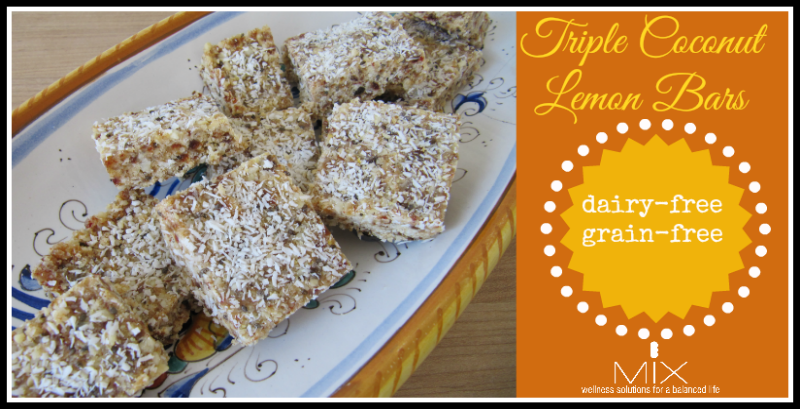 Triple Coconut Lemon Bars {Dairy-Free Grain-Free} | www.mixwellness.com