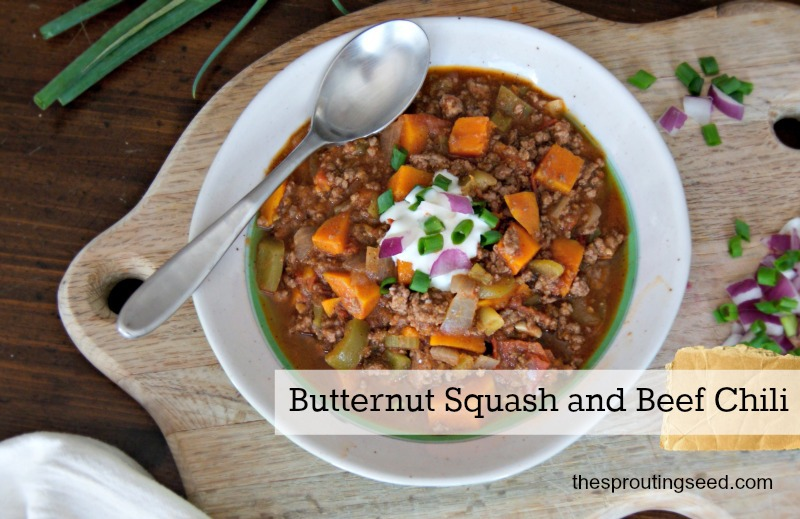 Butternut Squash & Beef Chili from The Sprouting Seed