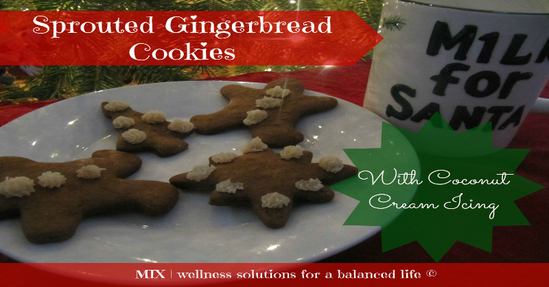 Sprouted Gingerbread Cookies with Coconut Cream Icing | www.mixwellness.com