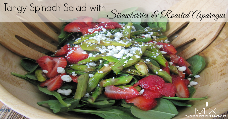 Tangy Spinach Salad with Strawberries & Roasted Asparagus | www.mixwellness.com