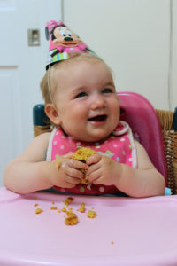 The birthday girl! Baby's 1st Birthday Gluten-Free Cupcakes with Whipped Strawberry Coconut Frosting